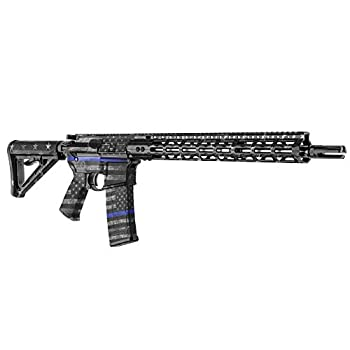 GunSkins AR-15 Rifle Skin - Premium Vinyl Gun Wrap with Precut Pieces - Easy to Install and Fits Any AR15 or M4-100% Waterproof Non-Reflective Matte Finish - Made in USA - GS Thin Blue Line
