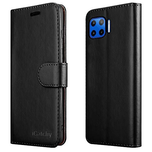 iCatchy For Motorola Moto G 5G Plus Case Leather Wallet Book Flip Folio Stand View Cover Pouch for Motorola Moto G 5G Plus (Black)