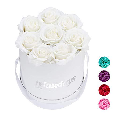 Relaxdays Rosenbox rund, 8 Rosen, stabile Flowerbox weiß, 10 Jahre haltbar, Geschenkidee, dekorative Blumenbox, weiß