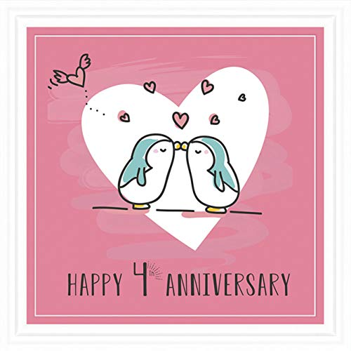 Inconditional Rosie 4º año de Boda y Compromiso Regalos | Mosaico de 7 x 7 | 4 años de relación para Pareja para Esposa, Marido, Novio y Novia