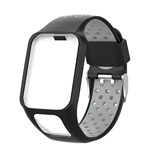 caralin Pulseira de silicone de dois tons para relógio Tomtom Runner 2 3 Spark 3 GPS Watch Fitness Tracker F Silicone + Pulseira de relógio de metal