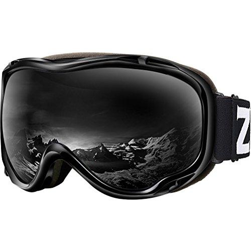 ZIONOR Lagopus Ski Snowboard Goggles UV Protection Anti Fog Snow Goggles for Men Women Youth VLT 8% Black Frame Black Lens
