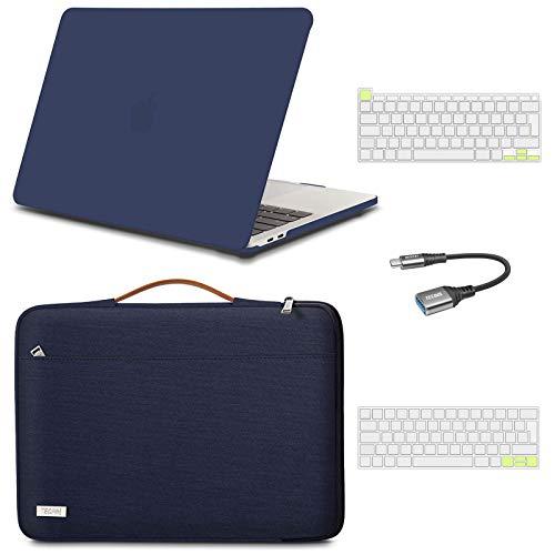 TECOOL Custodia MacBook PRO 13 inch 2016-2020 (Model: A2338 M1/A2289/A2251/A1706/A1989/A2159),Custodia Rigida & Laptop Custodia & Tastiera Cover & Adattatore USB per 13.3' Touch ID - Blu & Blu