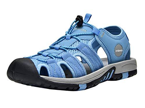 Knixmax Sandal Strandschuhe Trekkingsandalen Damen Herren Komfort Breite Füße Wasserschuhe - für Wandern am Strand im Freien Sommer Sport-& Outdoor Sandalen Blau 39 EU