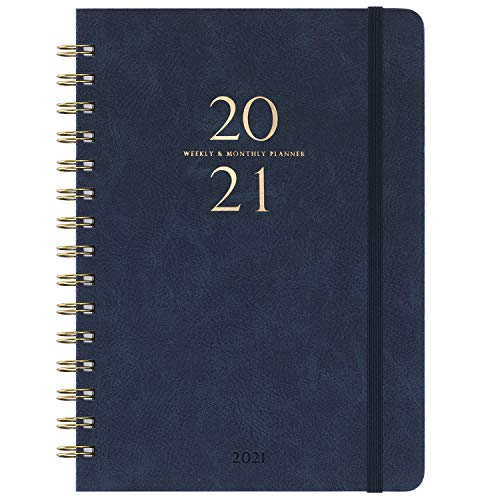 2021 Planner - Academic Weekly & Monthly Planner with Monthly Tabs, 6.3' x 8.4', January 2021 - December 2021, Smooth Faux Leather & Flexible Cover...