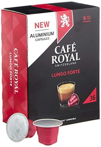 Café Royal 36 Lungo Forte Nespresso (R)* kompatible Kapseln aus Aluminium - Intensität 8/10 - Großpackung 36 Kaffeekapseln - UTZ-zertifiziert - Kompatibel mit Nespresso (R)* Kaffeemaschinen