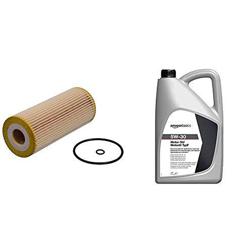 febi bilstein 22544 Ölfilter mit Dichtringen , 1 Stück & Amazon Basics – Motorenöl 5W-30 Typ F, 5 l