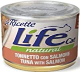 lifecat natural le ricette per gatto da 150gr, tonno salmone e carote