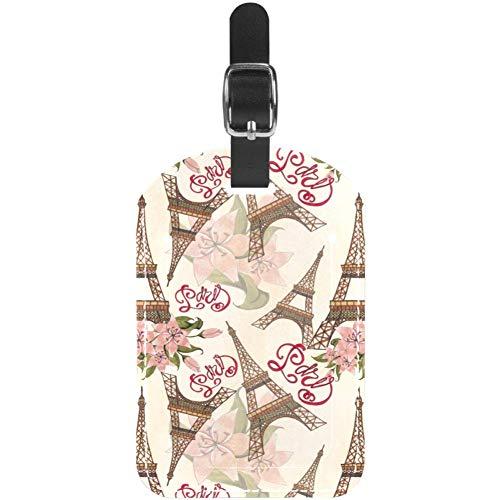 Etiquetas de equipaje de la Torre Eiffel de París con flores de cuero para maleta de viaje, 1 paquete