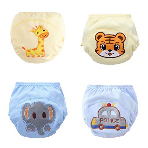 Fandecie 4 Stück Baby Kinder Töpfchen Hose Baby absorbierende Training Unterwäsche Kind WC Training Unterwäsche Baumwolle weich Kleinkinder Trainingshose Größe 5M-3 Jahre