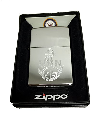 Zippo Custom Lighter - U.S. Navy Laser Engraving with Anchor Logo - Regular High Polish Chrome - Gifts for Him, for Her, for Boys, for Girls, for Husband, for Wife, for Them, for Men, for Women
