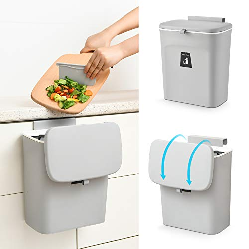 SUBEKYU 2.4 Gal Hanging Trash Can for Kitchen Cabinet Door with Lid, Small Under Sink Garbage Can for Bathroom, Wall Mounted Counter Waste Compost Bin, Plastic (Grey)
