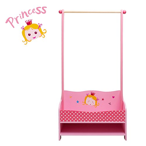 labebe 3-in-1 Pink Baby Clothes Rack, Baby Garment Rack in Wood for Girls of 2-5 Years, Kid Clothes Rack Shelf/Boutique Clothes Rack Organize/Girl Clothes Rack Stand/Storage Rack Clothes