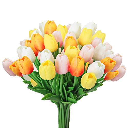 Tifuly 24 Stück künstliche Tulpen, realistische Latex-Tulpe mit weichem PU-Stiel, Elegante Blumendekoration für Brautsträuße, Haus, Party, Büro, DIY Blumenarrangements (Weiß+Rosa+Orange+Gelb)