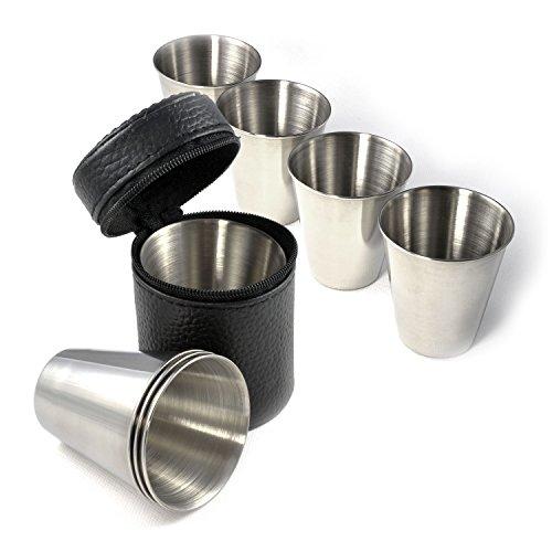 Shot-Gläser im 4er Set, Edelstahl Schnaps-Becher, Stamperle 60ml (GROß) im Leder-Etui mit Reißverschluss