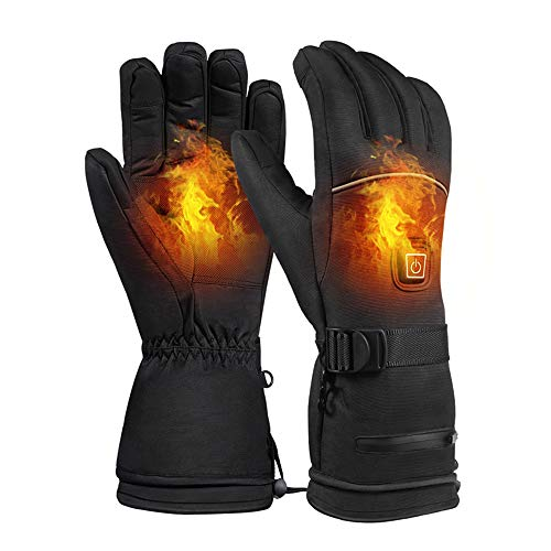 Bill&Kelly Heated Gloves for Men Women Electric Rechargeable Battery Breathable Waterproof and Wind Resistant Thermal Insulate Gloves Hand Warmer for Skiing Skating Motorcycle in Winter Cold Weather
