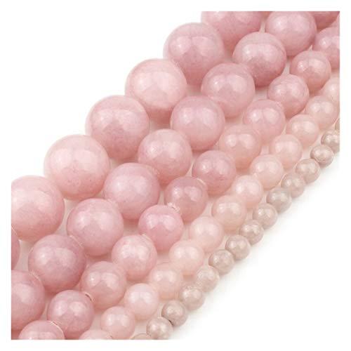 HETHYAN Luz de Piedra Natural Purple Pink Jade Redondo Perlas Sueltas for la fabricación de Joyas Collar de Bricolaje 4 6 8 10 12 mm 15 Pulgadas (Size : 8mm)