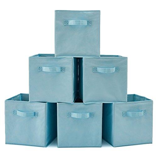 EZOWare Caja de Almacenaje con 6 pcs, Set de 6 Cajas de Juguetes, Caja de Tela para Almacenaje, (Azul Claro)