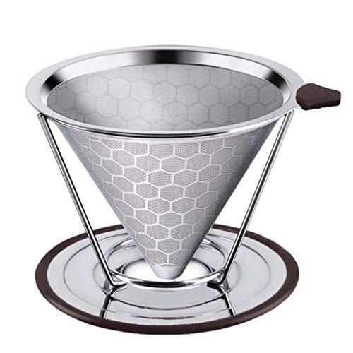 Bingxue Filtro de café Reutilizable, cestas de Filtro de café de Cono de Acero Inoxidable 304, colador de Malla, Verter sobre el gotero de café