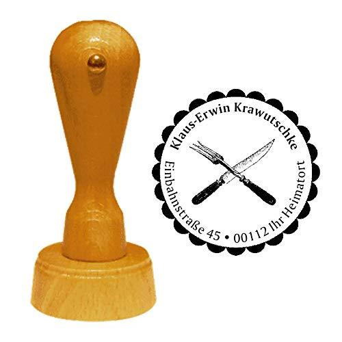 Stempel adresstempel « mes en vork » diameter ca. Ø 40 mm - met persoonlijk adres, motief en sierrand - bestek gastronomie restaurant