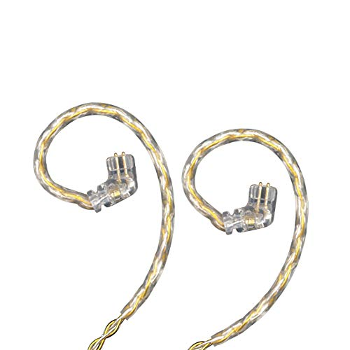 KZ Gold Silver Mixed Braiding Upgrade Cable 2 pin 0.75mm Replacement Earbuds Audio Cable Compatile with (C Pin (KZ-ZSN/ZSN PRO/ZS10 PRO))