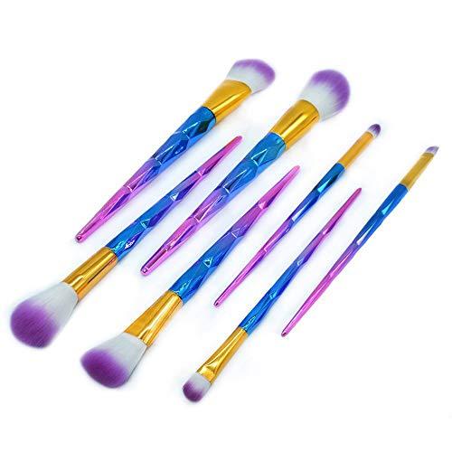 HZD 7 Stücke Make-Up Pinsel Set Diamant Regenbogen Griff Cosmetic Foundation Eyshadow Rouge Puder Blending Pinsel Schönheit Werkzeuge Kits,White