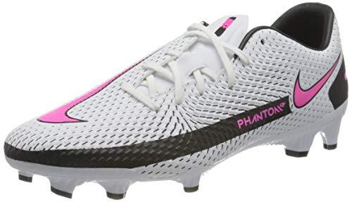 Nike Unisex Phantom GT Academy FG/MG Soccer Shoe, White/Pink Blast-Black-Black, 43 EU