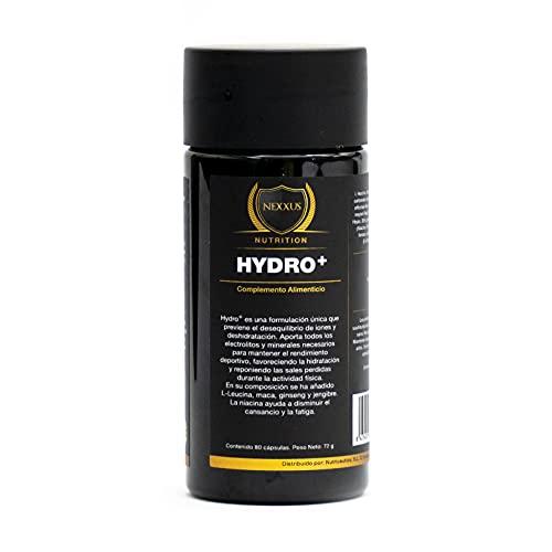 HYDRO+ Previene la deshidratación del organismo. Electrolitos y minerales necesarios para el rendimiento deportivo con L-Leucina, vitaminas, Maca, Ginseng y jengibre. 80 cápsulas.