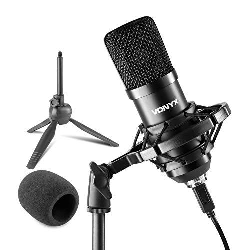 VONYX CM300B – Microphone Streaming avec trépied – Noir, Micro Professionnel USB, idéal pour Gaming, Streaming ou pour réaliser du Contenu Youtube et Twitch