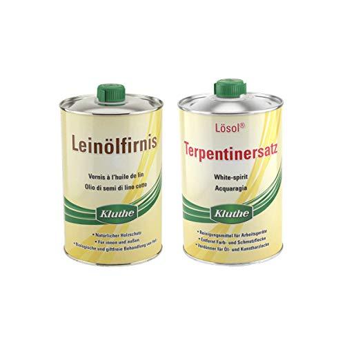 Set Kluthe 1 x Leinölfirnis 1 Liter + 1 x Lösol Terpentinersatz 1 Liter