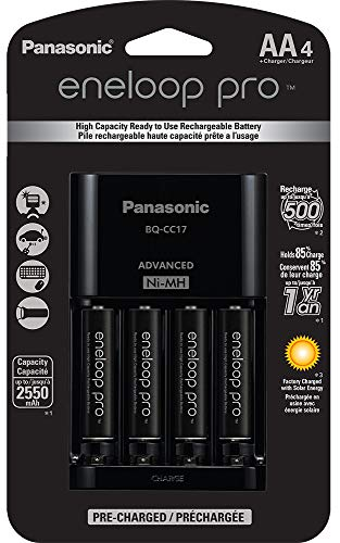 Panasonic K-KJ17KHCA4A Advanced Individual Cell Battery Charger Pack with 4 AA eneloop pro High Capacity Ni-MH Rechargeable Batteries,Black,4-Pack