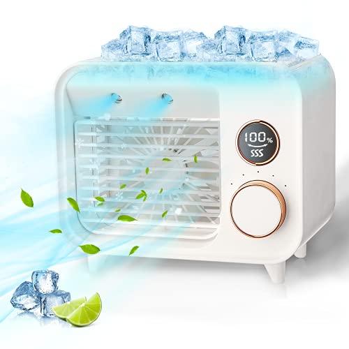 Jeteven Climatizzatore Portatile 5 in 1, Condizionatore D aria Mobile, Condizionatori Portatili, Mini Dispositivo di Raffreddamento Dell Aria, Refrigerazione, Umidificazione spray, Aromaterapia, LED
