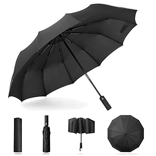 Taschenschirme, KIPIDA Regenschirm Voll Automatischer Taschenschirm mit Auf Zu Automatik Windsicher Sturmfest, Teflon Beschichtung 12 Ribs Schirmständer Struktur Stabil Transportabel Reiseschirm