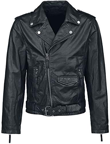 Black Premium by EMP The Road Crew Homme Veste en Cuir Noir XXL, 100% Cuir, Regular/Coupe Standard