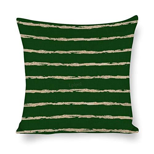 Lplpol SH2030 - Funda de almohada decorativa de lino y algodón, diseño de líneas horizontales, color verde