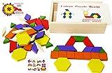 Toys of Wood Oxford TOWO Madera Bloques y Rompecabezas de 60 Piezas de Madera - Clasificador de Forma Tangram Rompecabezas - Formas geometricas niño - Puzzle 4 Años - Regalos Cumpleaños Niños 5 Años