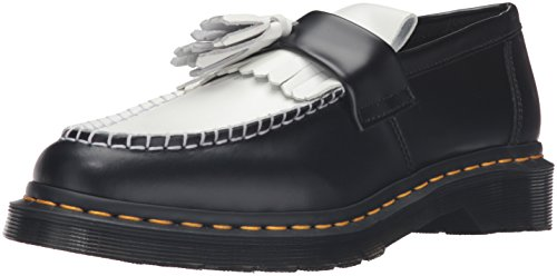 Dr.Martens Womens Adrian Smooth Tassel Loafer Black White Leather Shoes 39 EU
