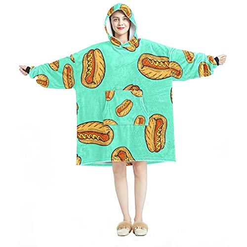 Couverture à capuche, décontractée en microfibre douce, chemise de nuit chaude pour homme et femme avec motifs Hot Dog saucisses