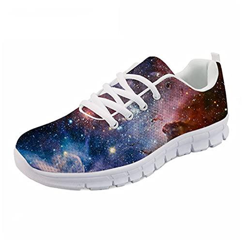 Zapatillas de deporte con cordones con estilo Galaxy Star Print transpirable Senderismo Zapatos deportivos para el ocio femenino, H8078aq, 42 EU