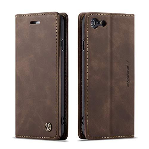 Bigcousin Custodia per iPhone 7/8/iPhone SE 2020,Flip Cover in PU Pelle Premium Portafoglio Custodia,caffè