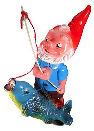 GOM Gartenzwerg Angler mit Fisch 35 x 20 cm Zwerg Garten bruchfest PVC Deko 6021