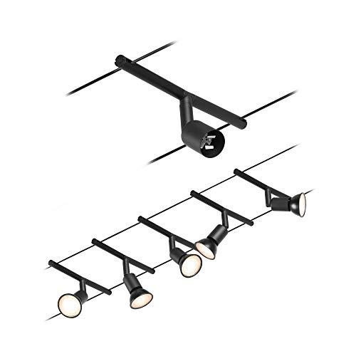 Paulmann 944.46 94446 Kit LED Salt DC max. Câble métallique extensible 5 x 10 W noir mat/chromé en plastique GU5,3, Set