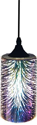 LYEJFF Luz Colgante de Cristal 3D Fireworks Colorful Fireworks Light Fitt for Loft Home Office Restaurante Comedor Colorfull Lámpara Colgante de Vidrio Silver-A