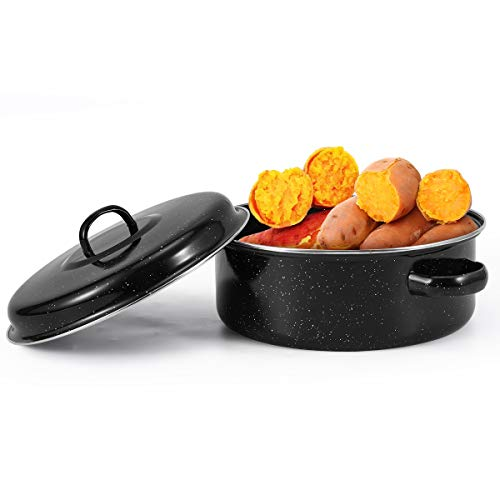Round Enamel Roasting Pot with Rack and Self Basting Lid, 9