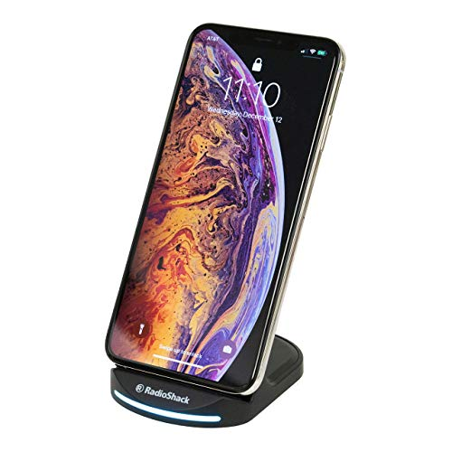 RadioShack 15W Fast Wireless Charging Stand with Quick Charge 3.0 Power Adapter for iPhone 11, Samsung, and More - Qi-Compatible