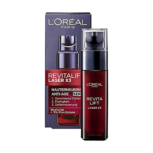 L'Oréal Paris Serum, Revitalift Laser X3, Anti-Aging Gesichtspflege mit 3-fach Wirkung, Mit Hyaluronsäure, 30 ml