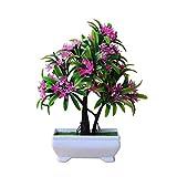 SuperglockT Künstliche Pflanzen Blumen Kunstbonsai Mini Künstlicher Baum im Topf Kunststoff Büsche Topfblumen Deko für Büro Küche Garten Hochzeit 25cm Hohe (Rosa)