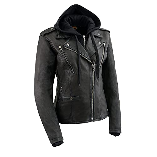 Milwaukee Leather MLL2575 Ladies Black Vented MC Jacket with Removable Hoodie - Large