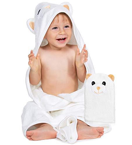 Organic Bamboo Baby Towel & Wash Mitt – Hooded Newborn Towel – 35 x 35-Inch Infant Bath Towel Set for Girls & Boys – Baby Shower Hood Bear Towel