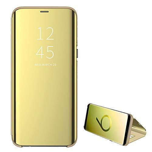 niter Compatible con Samsung Galaxy S7/S7 Edge. Carcasa de Espejo de Piel sintética con Tapa para Galaxy S7/S7 Edge. Dorado Talla única